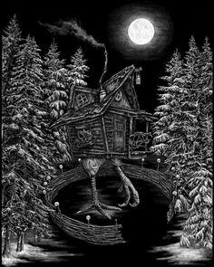 Baba Yaga's Hut 8x10 — Death of Seasons Baba Yaga, Autumn Theme, Halloween Decorations, Death, Batman, Seasons, Prints, Shop, Art