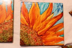 tile coasters; Alcohol ink painted on ceramic tile; coasters; sunflower art on coasters. Http://www.facebook.com/pinkfigcreations