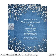 Shop Denim & Diamonds Glam Scattered Bling Invitations created by printabledigidesigns. Personalize it with photos & text or purchase as is! Bling Invitations, Paris Invitations, Engagement Party Invitations, Zazzle Invitations, Bridal Shower Invitations, Invitation Design, Invites, Bling Party, Diamond Party