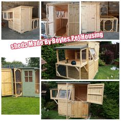 A photo collage  Of some of Our Handmade Bespoke Rabbit Sheds . How Amazing all Handmade By Boyles Pet Housing