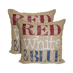 Red White & Blue Pillows ($27) ❤ liked on Polyvore featuring home, home decor, throw pillows, ivory, ivory throw pillows, cream throw pillows, red white blue home decor, patterned throw pillows and target throw pillows