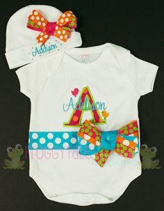 PERSONALIZED BIRD Bodysuit Onesie and Name by FroggytaleDesigns, $47.95