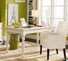 #officecolors, green and white home office; http://colorchats.benjaminmoore.com/2013/10/five-tips-for-finding-the-perfect-colors-for-your-home-office/
