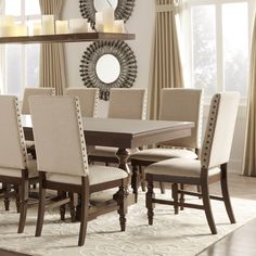 Tribecca Home Flatiron Nailhead Upholstered Dining Chairs (Set of 2) (Beige Linen), Brown (Leather)