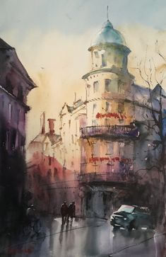 Stockholm watercolor Stefan Gadnell Stockholm, Watercolor, Dark, Painting, Pen And Wash, Watercolor Painting, Watercolour, Painting Art, Paintings