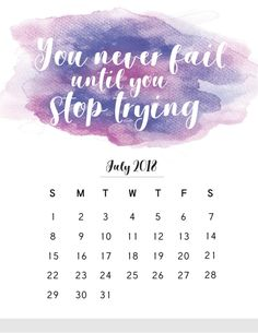 July 2018 Calendar with Quotes