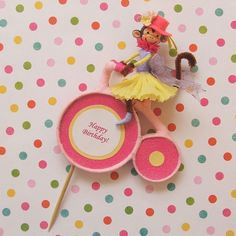 Girl Monkey Riding Bike Cake Topper/Table by marileejanedesigns.etsy.com