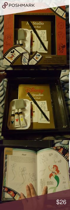 Disney Art Studio Set Disney Art  Includes: new 80 page Disney project book 3 watercolor paints 1 paint palette 1 fine-line marker 1 kneaded eraser **Everything included is new and unused** ***Buy as is or add to an item for $5 off  Missing: 2 paint brushes Drawing pencil 7 colored pencils Sharpener **(All of which you can get elsewhere for only a couple bucks)**  I have lots of New, Like New and EUC items like Victoria Secret and more! Take a look!  **NOT Victoria Secret used for visibility…
