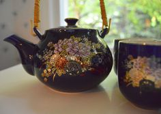 Japanese Tea Set Kutani Cobalt Blue by SongSparrowTreasures, $25.00