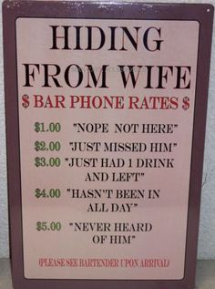 Hiding from Wife Tin Sign Bar Phone Rates Man Cave Rec Room | eBay
