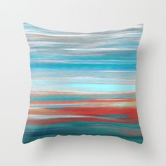 Throw Pillow Cover Teal Grey Aqua Red Abstract Modern Home Decor Living room bedroom accessories Cushion Cover - pinned by pin4etsy.com