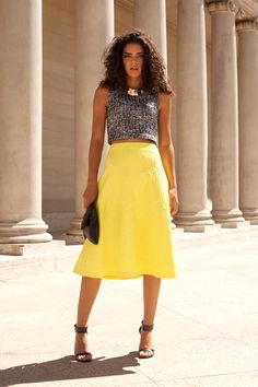 yellow midi skirt with black and white cropped top