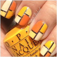 OPI citron hues with nail tape, simple nail design, nail art, orange polish, color blocking, summer and fall nail art