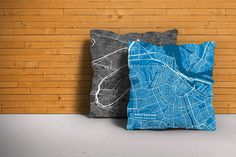 Map Throw Pillow of Amsterdam Noord-Holland - Subtle Blue Contrast
