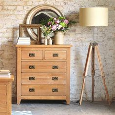 Oakland 2 over 3 Chest of Drawers (K223) with Free Delivery | The Cotswold Company. Country Furniture, Country Home, Country Style, Oak Furniture, Furniture Dressing, Oak Chest of Drawers, Bedroom Furniture, Bedroom Drawers, Wooden Tripod Lamp, Wooden Drawers, White-washed Brick Walls.