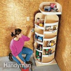 Project 1: Rotating corner shelves.....shoe storage in walk-in closet?  large lazy susan for pantry? ...this would be awesome!