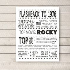 40th birthday 1976 Poster Flashback to 1976 by WhitetailDesigns
