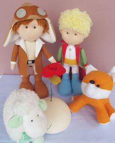 Kit Pequeno Príncipe de feltro, aviador, raposa, pequeno principe, rosa, ovelha