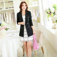 2015 Moda Jacket Blazer Mulheres Terno Brasão dobrável mangas compridas  lapela dos doces cores Blazer único 71dff2b8aae47