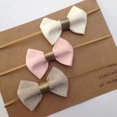 Baby headband set / neutral coloured linen bow headbands / baby shower gift set / new baby present / christening baptism accessories