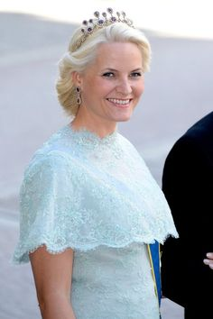 royaltywithella:  Wedding of Princess Madeleine and Chris O'Neill-June 8, 2013:  Crown Princess Mette-Marit of Norway wears the Amethyst Necklace Tiara
