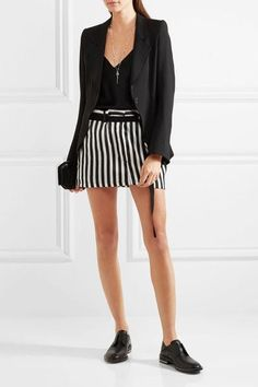 Ann Demeulemeester - Striped Satin-twill Mini Skirt - Black - FR34