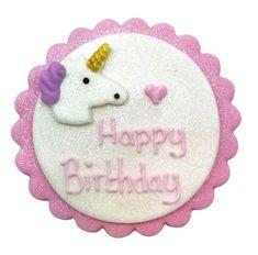 Sukkerpynt, Enhjørning Happy Birthday-motiv. Pynten er ca 10 cm stor.