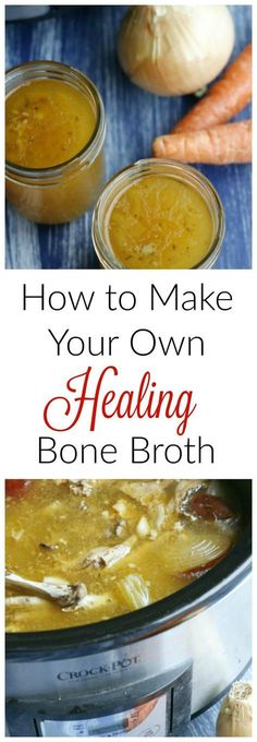 Slow Cooker Bone Broth How To Make Your Own Healing Bone Broth! It's so easy to make your own bone broth and costs pennies! Bone Broth Crockpot, Slow Cooker Bone Broth, Bone Broth Soup, Healthy Bone Broth Recipe, Instapot Bone Broth, Bone Broth Detox, Bone Marrow Broth, Chicken Bone Broth Recipe, Making Bone Broth