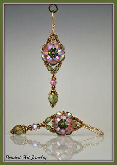 Beadwoven Beadwork Beaded Crystal Flower in pink & green ... by beadedartjewelry