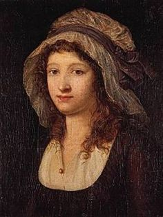 Charlotte Corday, a leader in the French Revolution, who also murdered Jean-Paul Marat in his bathtub, The Corday/Mob cap was a headwear worn by middleclass and working class women. French History, European History, Women In History, French Revolution, American Revolution, Children Of The Revolution, Madame Du Barry, Portrait Art, Portrait Paintings