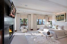 luxus schlafzimmer weiß anthrazit wand kaminofen