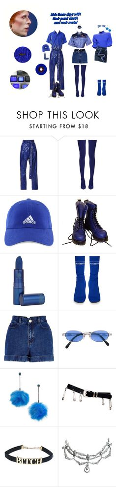 """""""Give me BLUE 🔵💧"""" by moon-mermaidens ❤ liked on Polyvore featuring Balenciaga, adidas, Vegetarian Shoes, Lipstick Queen, Vetements, River Island, Jean-Paul Gaultier, Betsey Johnson, Versace and look"""