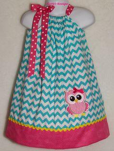 OWL+Pillowcase+Dress+/+Blue+Chevron+