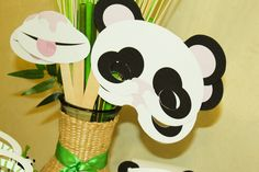 Fun photo props at a Panda Birthday Party!  See more party ideas at CatchMyParty.com!  #partyideas #panda