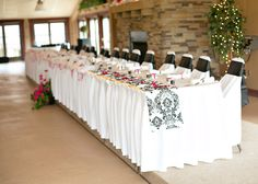 Head table - damask and pink.