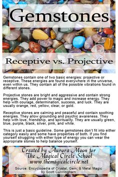 Gemstones: Receptive vs. Projective created by Aurora Moon for The Magical Circle School www.themagicalcircle.net
