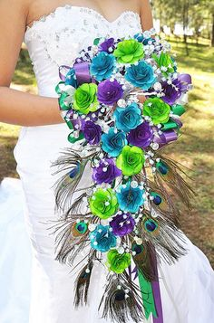 Peacock Cascading Wedding Flowers