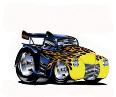 Cartoon Hot Rod of 20 - cartoon-icio. Car Art, Art Cars, Rat Fink, Car Drawings, Cartoon Drawings, Hot Rods, Muscle Cars, Truck Art, Garage Art