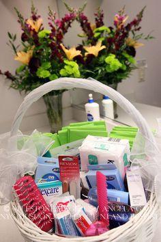 Courtesy Bathroom Basket (green guest towels match the wedding decor)