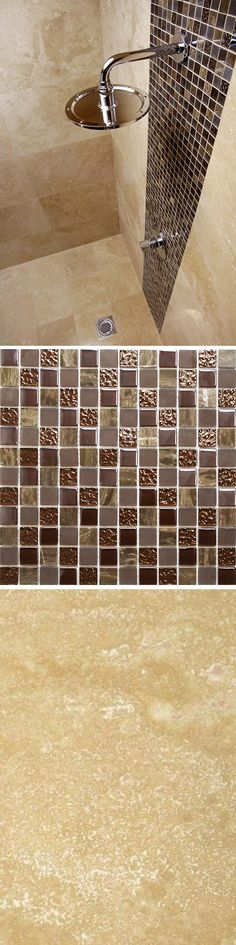 Ferrara Natural Travertine with Natural Chocolate Marble & Glass Mosaic Tiles. Using the marble & glass tiles along with the travertine adds a burst of glamour into your walls whilst keeping to luxury natural materials. This look is great as a splash back or feature point in any bathroom or kitchen! The perfect match - Order samples if you don't believe us to see the true beauty of these tiles...