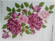 💗 Easy Cross Stitch Patterns, Cross Stitch Bird, Simple Cross Stitch, Cross Stitch Borders, Cross Stitching, Cross Stitch Embroidery, Purple Roses, Needlepoint, Embroidery Designs