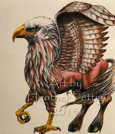 Buckbeak 9 x 10.5 original pencil drawing on by TwoBlueRavens, $70.00