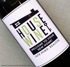 Wine Label Favors for Realtors New HomeMid by nancynikkodesign, $32.00