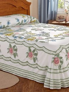 Cotton chenille bedspread with floral design lends vintage charm to you bedroom decor. Machine wash and dry hand-guided chenille. Floral Bedspread, Vintage Bedspread, Chenille Bedspread, Bedroom Vintage, 1950s Bedroom, Linen Bedding, Bedding Sets, Bed Linen, 1950s Decor