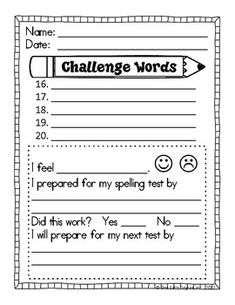 Spelling Test Template Sheet. This is editable- the original has ...