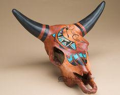 Southwest Painted Steer Skull - Kokopelli