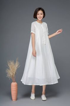 White linen dress maxi dress loose dress summer dress long