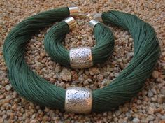Set Necklace and bracelet Natural Linen green hornet Engraved Metal silver color…