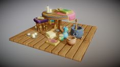 Low Poly, Bath Caddy, Medieval, Middle Ages