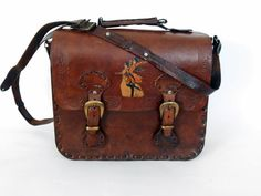 Size Bag Purse With Shoulder Strap leather by Kavalvintage on Etsy